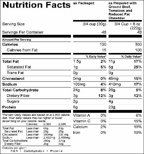 Whole Grain Santa Fe Pasta  (G4222) Nutritional Information