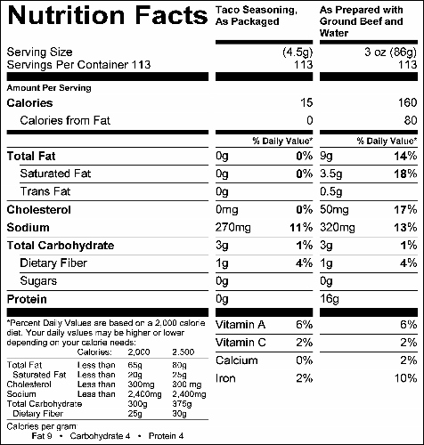Taco Seasoning Mix (G0525) Nutritional Information