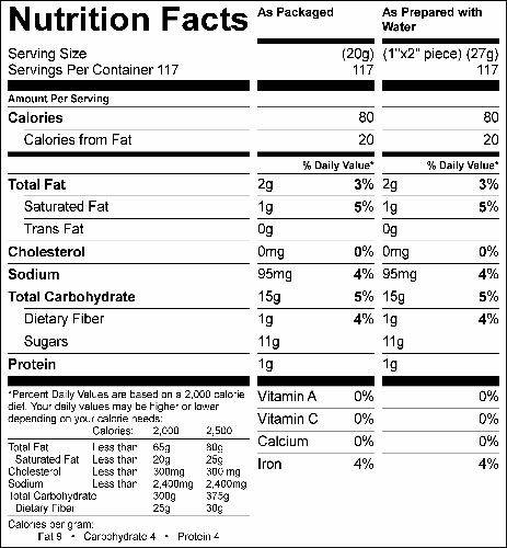Whole Grain Fudge Brownie Mix (G0640) Nutritional Information