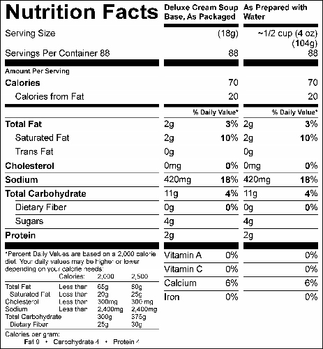 Deluxe Cream Soup Base (G0436) Nutritional Information