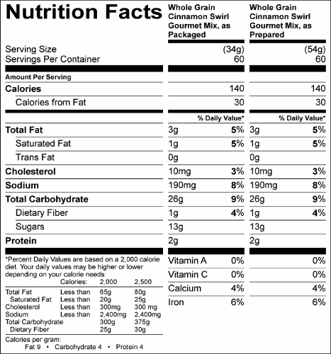 Whole Grain Cinnamon Swirl Coffee Cake/Muffin Mix  (G0642) Nutritional Information