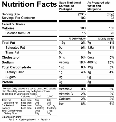 Traditional Stuffing Mix (G0353) Nutritional Information