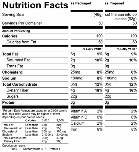 The Ultimate Smart Brownie Mix (G5550) Nutritional Information