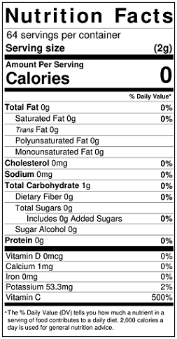 Tropical Punch Golden Choice Sugar Free Beverage Mix (GC80561S) Nutritional Information