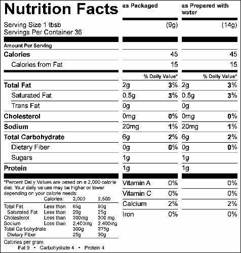 Chocolate Fudge Low Sugar Icing Mix (GC80156S) Nutritional Information
