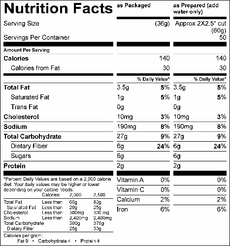 Whole Grain Yellow Velvet Cake Mix (G6200) Nutritional Information