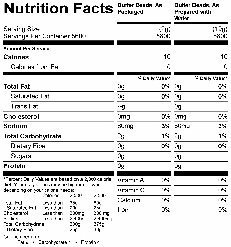 Butter Beads, 25 lb Econo-Pack (G0504) Nutritional Information