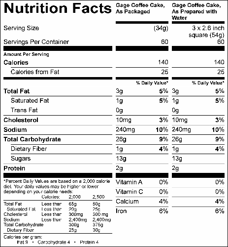 Cinnamon Swirl Muffin / Coffee Cake Mix  (G0616) Nutritional Information