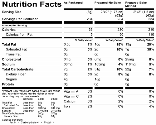Chewy Cinnamon Granola Bar Mix (G0629) Nutritional Information