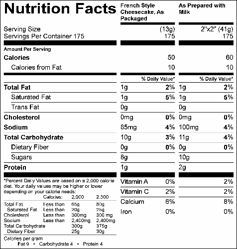 French Style Cheese Cake (G0934) Nutritional Information