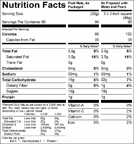Fruit Mate (G0975) Nutritional Information