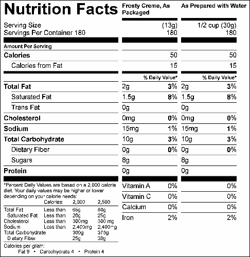 Chocolate Frosty Creme (G1982) Nutritional Information