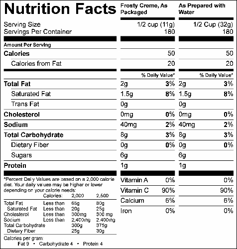Cookies & Cream NutriFun Frosty Creme (G2353) Nutritional Information