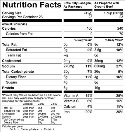 Little Italy Lasagna (LW2005) Nutritional Information