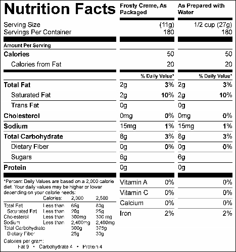 Rocky Road Frosty Creme (G1992) Nutritional Information