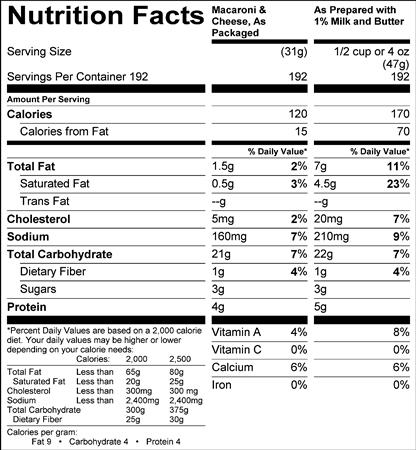 Macaroni and Cheese (G0333) Nutritional Information