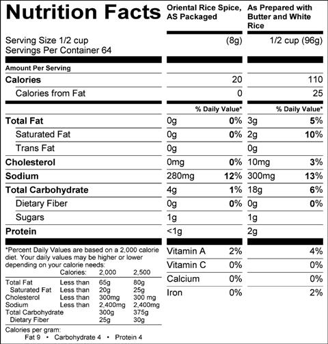 Oriental Rice Spice (G0492) Nutritional Information
